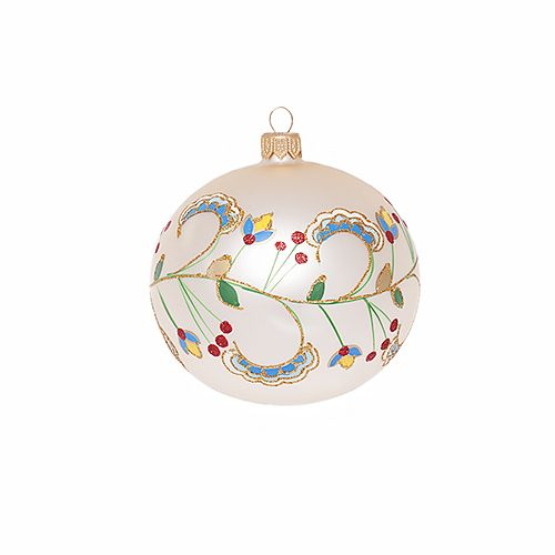 hand painted bauble with folk ornaments | Christmas decorations