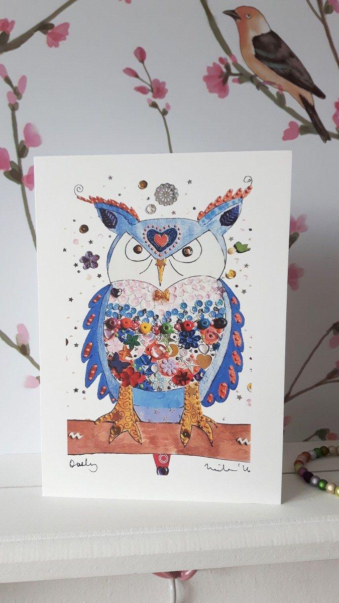 Owly Bird Greeting Card - print from original artwork