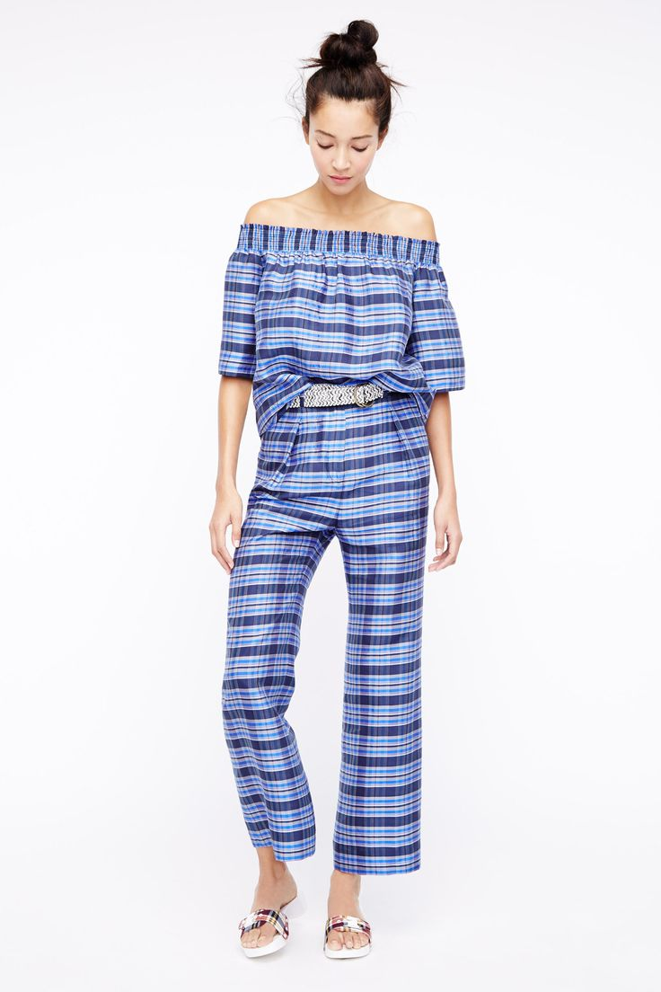 J.Crew Spring 2016 Ready-to-Wear Fashion Show  ...matchy-matchy and off-the-shoulder, great blue tones too...