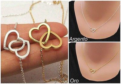 Deliziosa collana con mini ciondolo doppio cuore - Oro/Argento