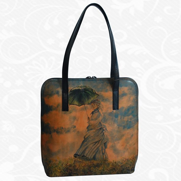 Feature: Claude Monet - Woman with a Parasol   Products are an inspiration to work painting greats, their remarkable details and motifs. These are memories of the beautiful works of art, their reminder. On each piece of leather is not original work painted as it feels artist. Therefore, there are two identical images. Each piece is unique, each is something special, exceptional, unique. http://www.vegalm.sk/produkt/rucne-malovana-kabelka-c-15/