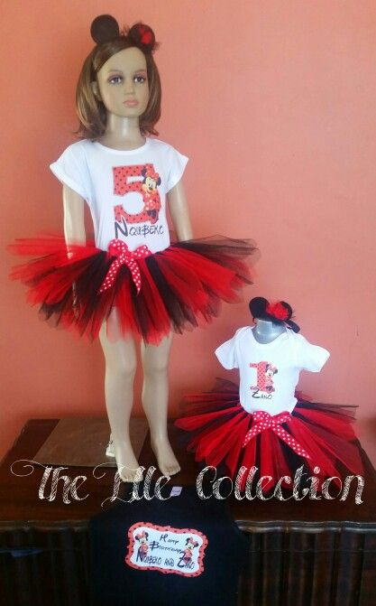 Minnie mouse red and black tutu skirts with personalized shirts and mouse ears headbands custom made by the Elle Collection in South Africa.  To order email Karin on theellecollection13@gmail.com