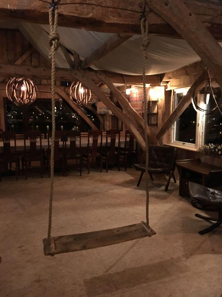 Swing made of old oak barrels.