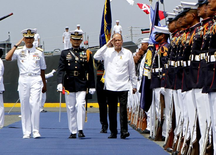 President Benigno S. Aquino III is welcomed by Defense Secretary Voltaire Gazmin, Armed Forces of the Philippines acting Chief of Staff Lt. Gen. Glorioso Miranda, Philippine Navy Flag Officer-in-Command Vice Admiral Caesar Taccad, Philippine Army Commanding General Lt. Gen. Eduardo Año, Philippine Air Force Commanding General Lt. Gen. Edgar Fallorina, Philippine National Police Director General Ricardo Marquez, and Philippine Coast Guard Commandant Rear Admiral William Melad upon arrival for…