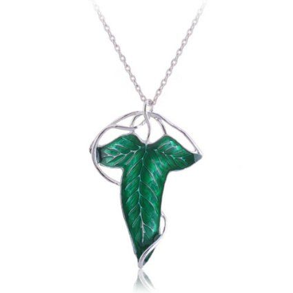 cytprimedesign Lord of the Rings Aragorn Elven Green Leaf Brooch Pin Pendant Necklace