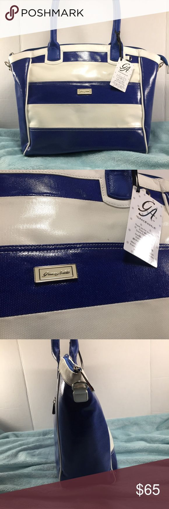 💗 GRACE ADELE NWT Blue & Cream Striped Bag GRACE ADELE NWT Blue and cream striped bag. Silver tone hardware, back zip pocket, large front slip pocket with snap closure, beautiful blue & white polkadot interior lining with multiple pockets. Clips inside connect to change shape into a slimmer bag. Absolutely stunning & in gorgeous , new condition. Did not come w/any shoulder strap although clips are available to attach one.  Perfect for use as a large tote, weekend travel bag, commuter laptop…