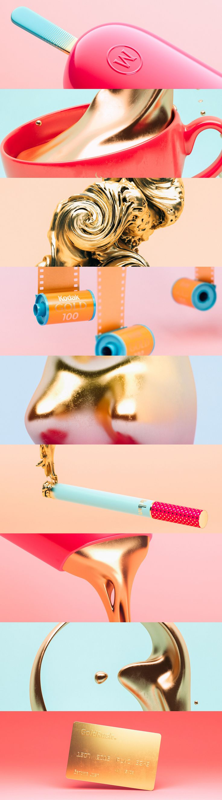 sweet style frames - dripping gold - 3D Design - GoldRush | Abduzeedo Design Inspiration