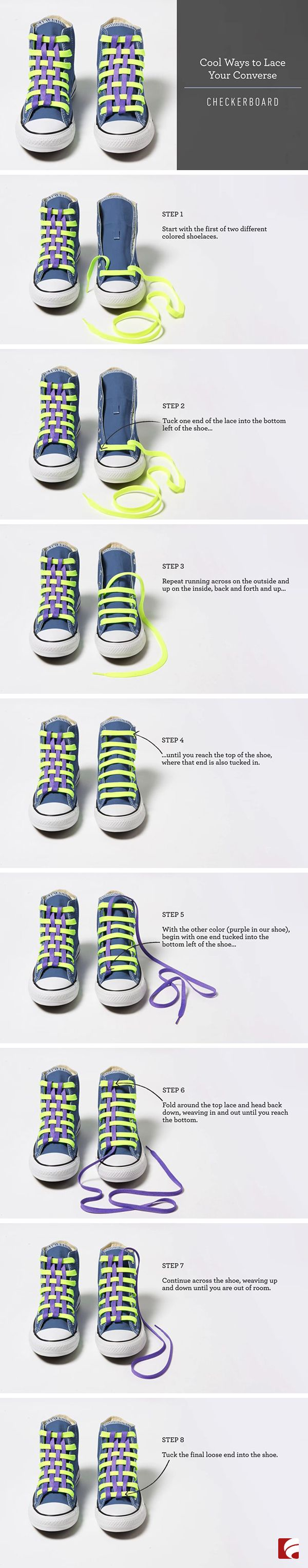 Grab a neutral colored pair of Converse, two different colored pairs of laces and try this cool lacing technique for a unique checkerboard look.
