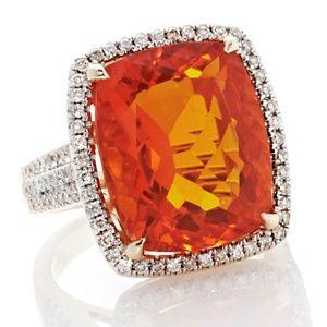 Rarities 11.06ct Fire Opal and Diamond 14K Yellow Gold Ring - Beautiful :)