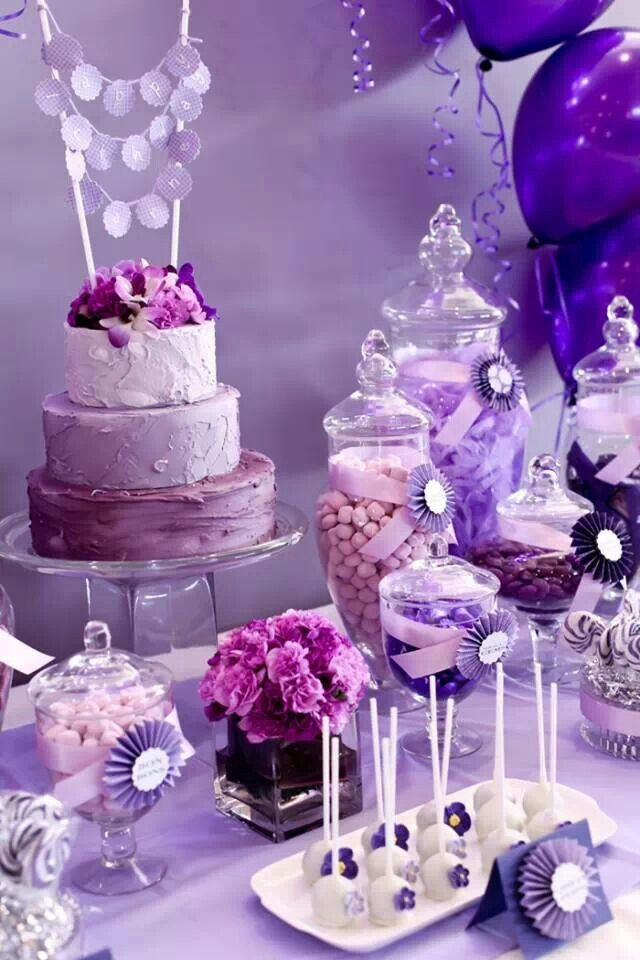 Purple birthday cake and candy table