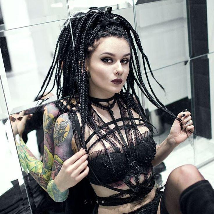 Aga Czech @askasublue @s.ink_photography    #photoshoot #girlswithtattoos #inkedgirl #tattoo #tattoosleeve #altmodel #alternative #model #inked #shoot #beauty #lingerine #dress #altfashion #fashion #girls #instacool #black #blackhair #bluehair #allblackeverything #dreadlocks #makeup #blackdresse