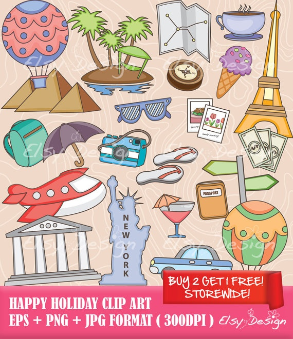 Happy Holiday Clip Art (Free digital paper) via Etsy
