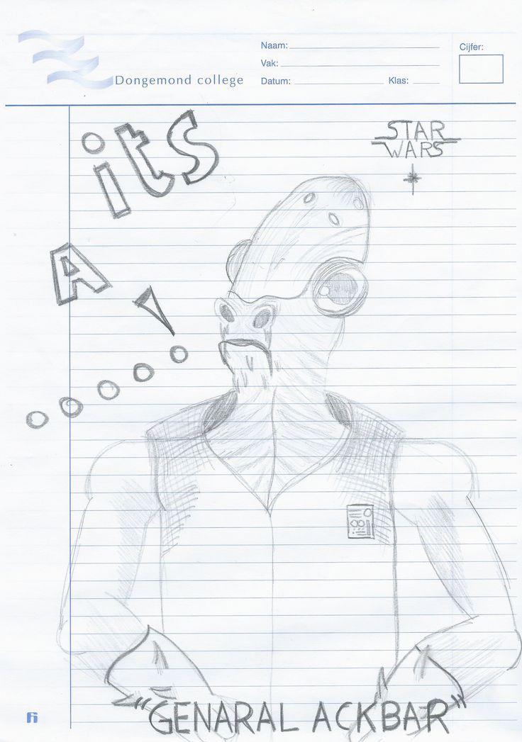 1.Een tekening die ik had gemaakt op een proefwerkblaadje op de middelbare school