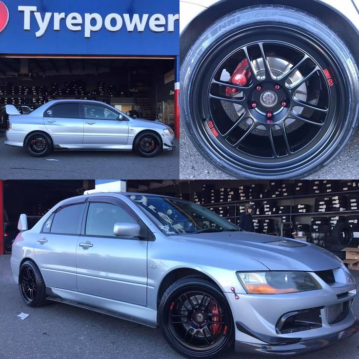 For Cluse Bros Tyres Adelaide - Mitsubishi Lancer EVO8 fitted with 18x9.5 +15 Matte Black Enkei RFP1, please call: 8182 3688