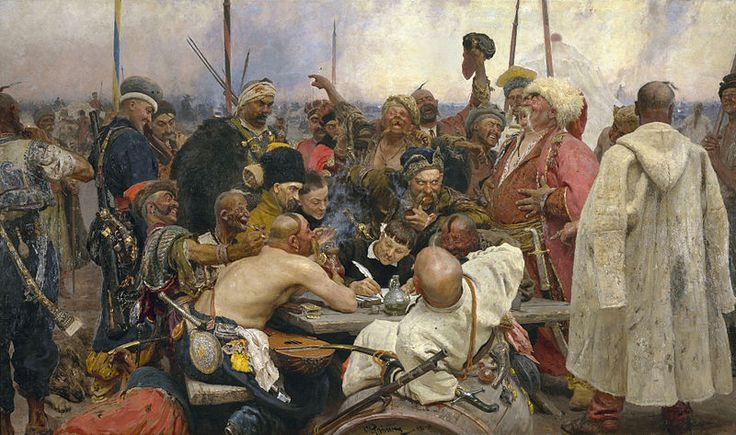 "Reply of the Zaporozhian Cossacks by Ilya Repin ""..Mehmed demanded that the Cossacks submit to Turkish rule. The Cossacks, led by Ivan Sirko, replied in an uncharacteristic manner: they wrote a letter, replete with insults and profanities. The painting exhibits the Cossacks' pleasure at striving to come up with ever more base vulgarities."""