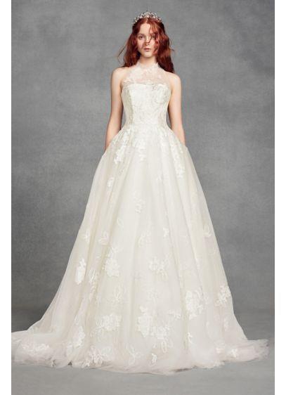 White by Vera Wang Floral Petite Wedding Dress 7VW351426