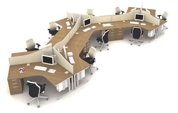 Model Modern Office Furniture 120 Degree Office Workstation Desk For 3