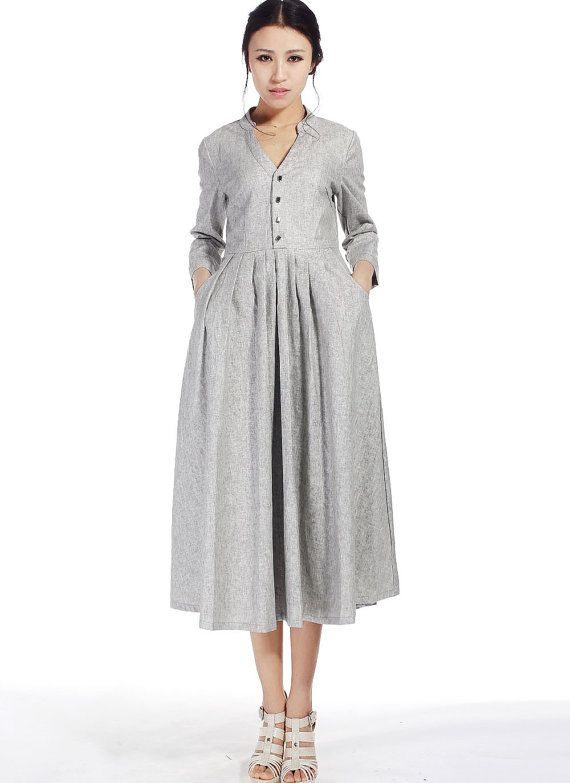 Ligth grey midi dress - women vintage inspired linen dress with V neckline and 3/4 sleeve - Handmade maxi skirt - Custom made dres (518)