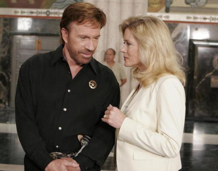 On the set of Walker, Texas Ranger: Trial by Fire - Chuck Norris and Sheree J. Wilson