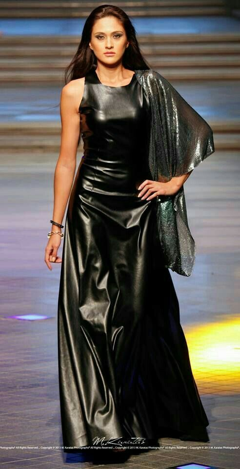 Long flowing leather dress fashion