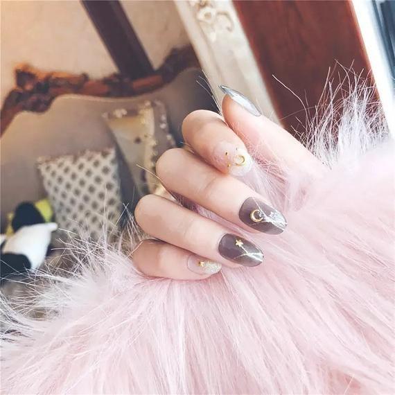 Shining Star Moon Designs Kunstliche Nagel Kunstliche Nagel Kleber Auf Nageln Weisse Na In 2020 Glue On Nails White Nails Fake Nails