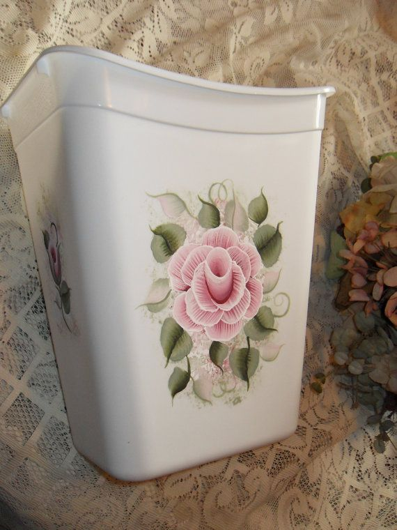victorian pink rose | Cottage Victorian Chic Hand Painted Pink Rose Trash Waste Basket New