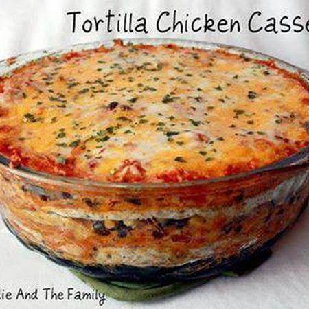 Chicken- Layered Tortilla Chicken Casserole  Corn, beans, salsa, sour cream, mont.jack & cheddar cheeses, chicken, onion, salsa.