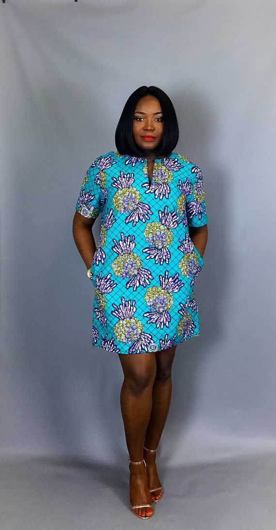 African print shift dress with pockets clothingwomen's