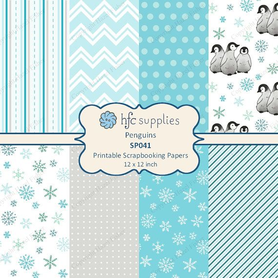 Penguin Digital Papers - cute baby emperor penguins, winter snowflake and coordinating spotty, striped and chevron designs in cool blue, grey and white shades by hfcSupplies