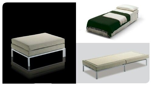 Willy has an easy-to-use front-opening mechanism, while the convenient foldaway mattress avoids sitting on the bedding. The 11 cm. high foam mattress has a removable lining and is covered in a fabric of customer's choice, while the bed base has a 100% cotton ecru quilt cover. Design Elisabetta Garoni & Sabina Sallemi.