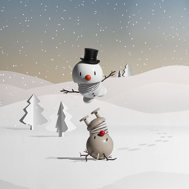 Christmas Hoptimist's Snowman and Rudolf