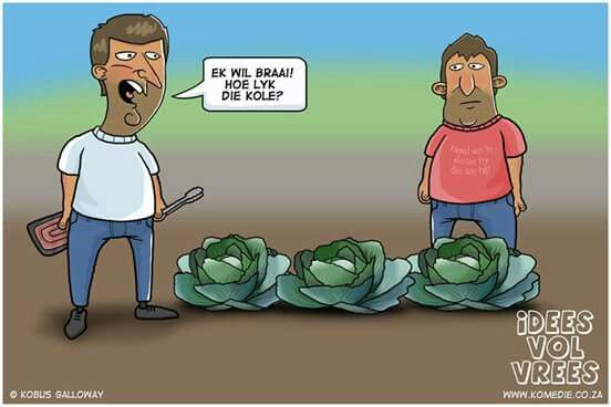 Idees vol veees humor Ek wil braai hoe lyk die kole #humor#afrikaans#grappe#south africa