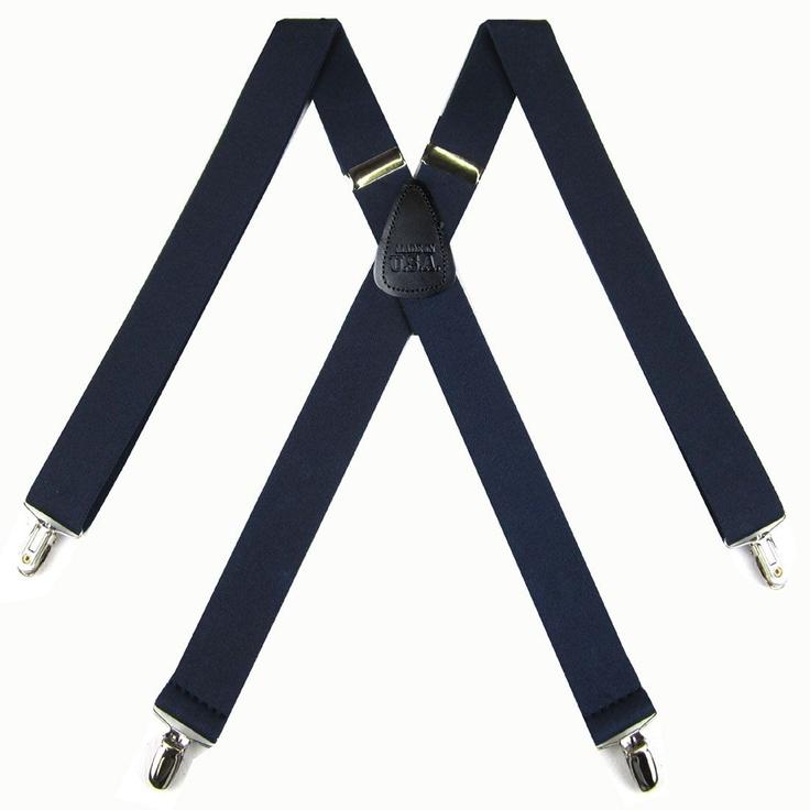 Solid Navy Suspenders