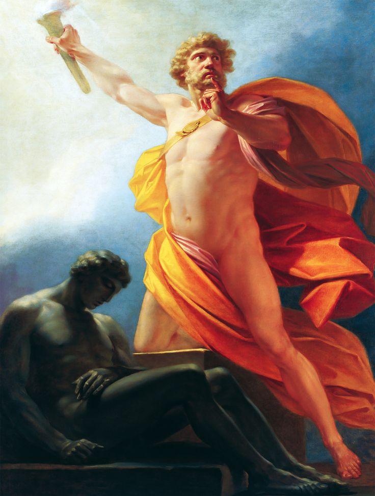 PROMETEO. Hijo de Jápeto y la oceánide Asia o de la también oceánide Clímene. Hermano de Atlas, Epimeteo y Menecio. Titán amigo de los mortales honrado principalmente por robar el fuego de los dioses y darlo a los hombres. HEINRICH FRIEDRICH FÜGER. Prometeo lleva el fuego a la humanidad. 1817.