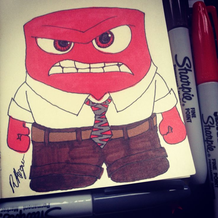 Sharpie drawing of Anger from Disney Pixar's Inside Out https://m.facebook.com/rebeccart.co.uk