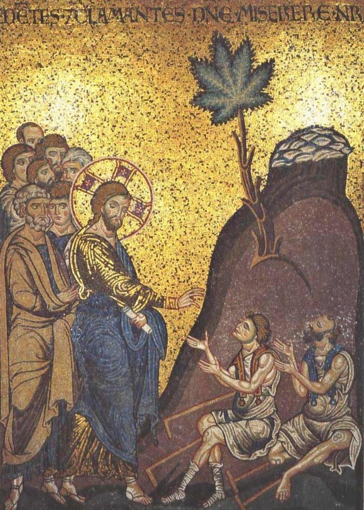 kaneh-bosem. Christ Heals the Two Blind Men on the Road to Jericho. Duomo di Monreale. Monreale (Sicily) (IT)