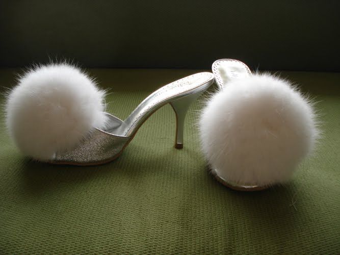 fluffy vintage house shoes