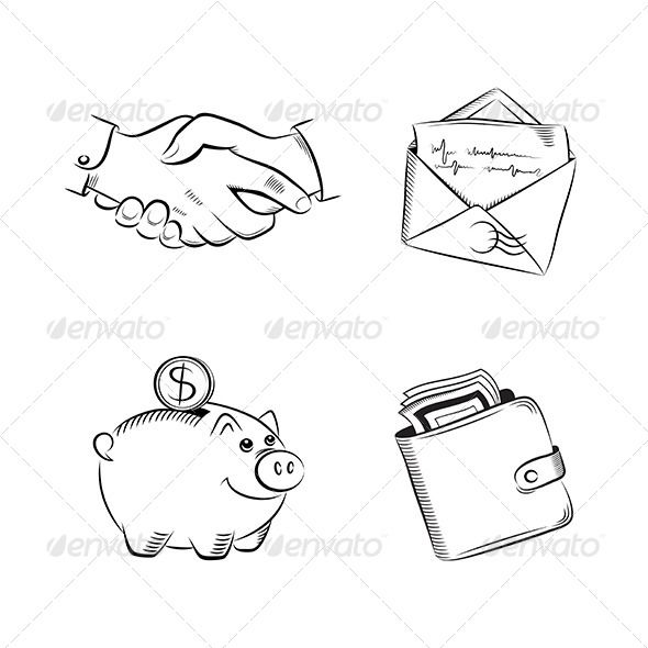 Business and Finance Vector Set #GraphicRiver Business and finance sketch icons. Editable vector set. EPS 10. All the design elements can be recolored, resized and replaced. Layered PNG, PSD files can be sent on demand. Created: 14November13 GraphicsFilesIncluded: VectorEPS Layered: No MinimumAdobeCSVersion: CS Tags: agree #agreement #business #commerce #communication #conceptual #cooperation #deal #decision #dollar #doodle #drawing #friendship #gesture #greeting #hand #mail #meeting…