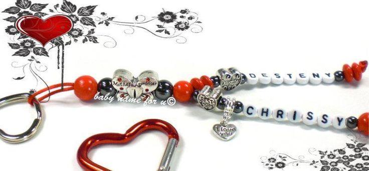 Schlüsselanhänger mit Namen Mother Muttertag von Schnullerkette by baby name for u auf DaWanda.com