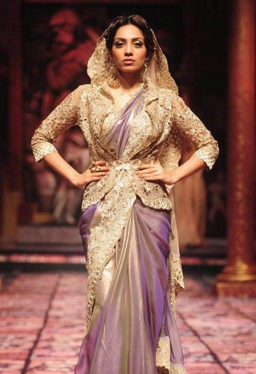 India Bridal Fashion Week 2013 – Suneet Varma purple sari with gold jacket