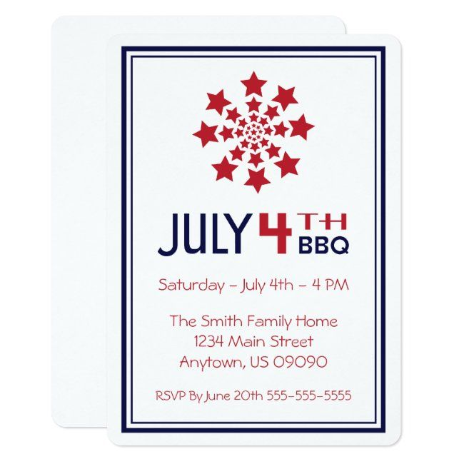 Retro Star Firework Fourth Of July Invitations Zazzle Com Invitations Fourth Of July Business Card Templates Download