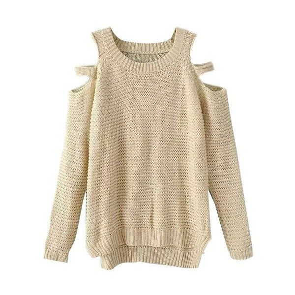 LUCLUC Beige Cut Out Plus Size Long Sleeve Knitwear ($31) ❤ liked on Polyvore featuring tops, sweaters, lucluc, pulli, long sleeve tops, brown tops, long sleeve cutout top, beige top and cutout tops