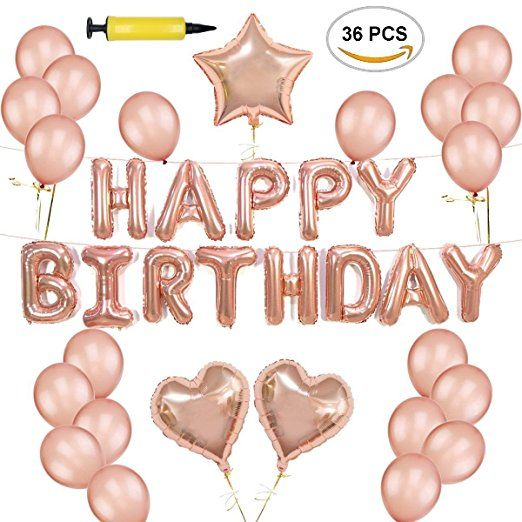 Amazon Rose Gold Happy Birthday Balloon Decoration Set 36 Pcs PUMP INCLUDED Just 1199 W Code