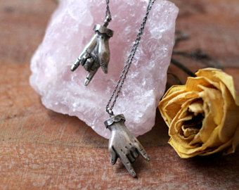 Good luck horns necklace | horned fingers, good luck, evil eye protection necklace, malocchio pendant, malocchio sign, maltese talisman