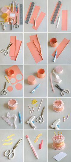 DIY Caja en forma de Pastel dd Cumpleaños