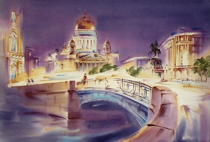 St. Petersburg_Paper/Water Colour by  Konstantin Kuzema