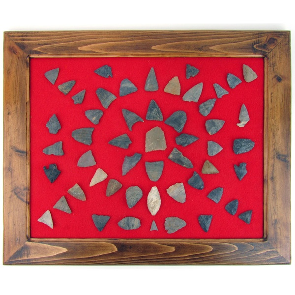 Vintage Found Arrowheads in Custom Frame on Red Felt by Ruby + George