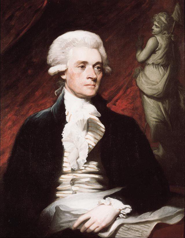While in London in the spring of 1786, United States minister to France Thomas Jefferson sat for his first known portrait. Mather Brown (1761-1831), one of a group of young American artists in London, executed the portrait.