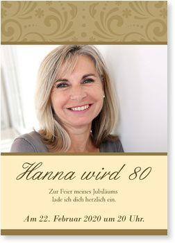 Elegante Zierde Einladungskarten 80. Geburtstag