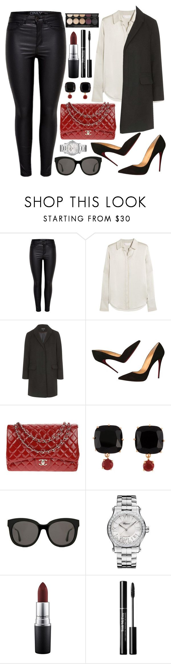 """""""Untitled #4438"""" by natalyasidunova ❤ liked on Polyvore featuring Chloé, Topshop, Christian Louboutin, Chanel, Les Néréides, Gentle Monster, Chopard, MAC Cosmetics and Witchery"""